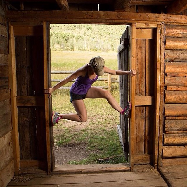 New goal in life: American Ninja Warrior!  Haha, just kidding -- but I WAS having fun playing in the doorway of this old barn in Steamboat!