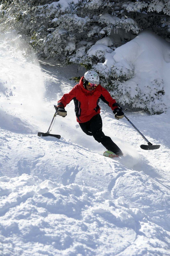 Skiing moguls at Sugarbush. Photo by Jeb Wallace-Brodeur