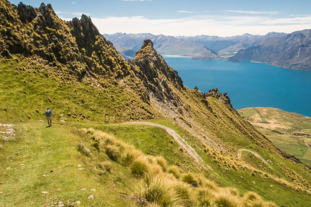 Switchbacks snake up Isthmus Peak