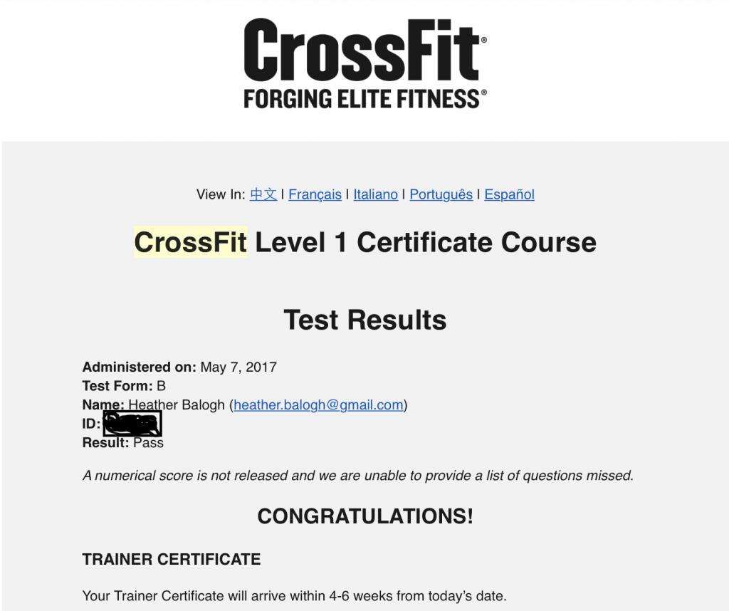 CrossFit Level 1